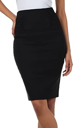 92ad5337a1 Amazon.com: Sakkas Petite High Waist Stretch Pencil Skirt with Shirred  Waist Detail: Clothing