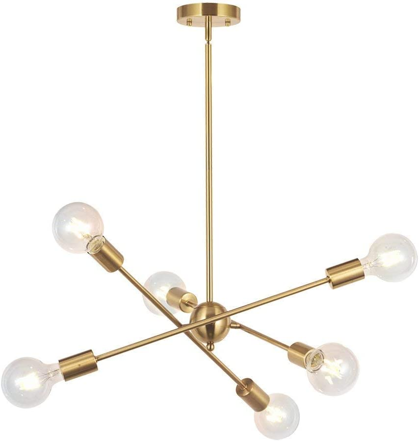 Bonlicht Modern Sputnik Chandelier Lighting 6 Lights Brushed Brass Chandelier Mid Century Pendant Lighting Gold Ceiling Light Fixture For Hallway Bar Kitchen Dining Room Amazon Ca Tools Home Improvement