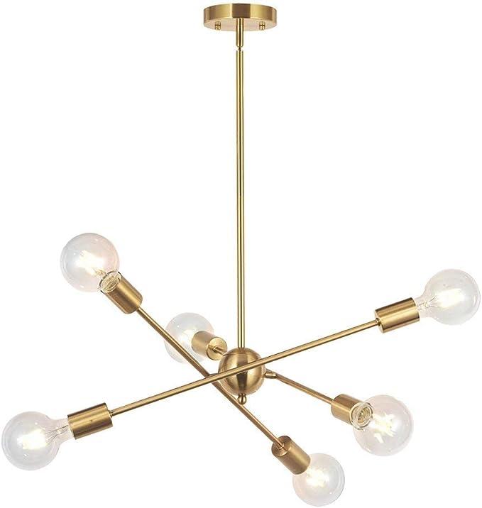 Amazon Com Bonlicht Modern Sputnik Chandelier Lighting 6 Lights Brushed Brass Chandelier Mid Century Pendant Lighting Gold Ceiling Light Fixture For Hallway Bar Kitchen Dining Room Home Improvement