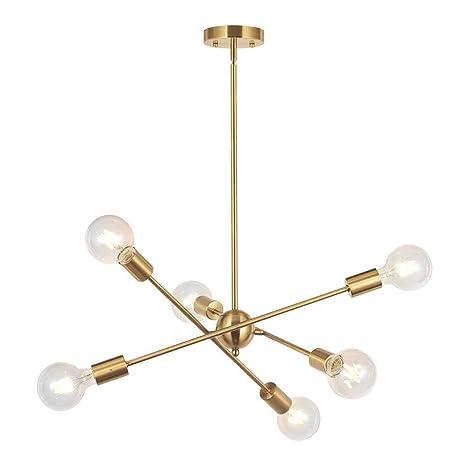 L.HPT 6 Luces-Moderna Lámpara De Araña Sputnik Iluminación Colgante Iluminación Cepillada Araña De Bronce Mediados De Siglo Oro Lámpara De Techo para ...