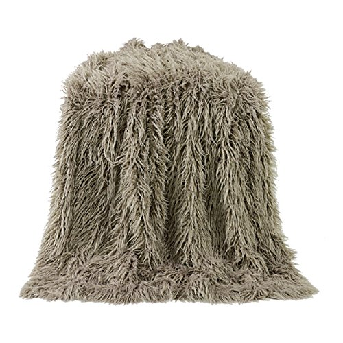 (HiEnd Accents Mongolian Faux Fur Throw, 50X60 Taupe)