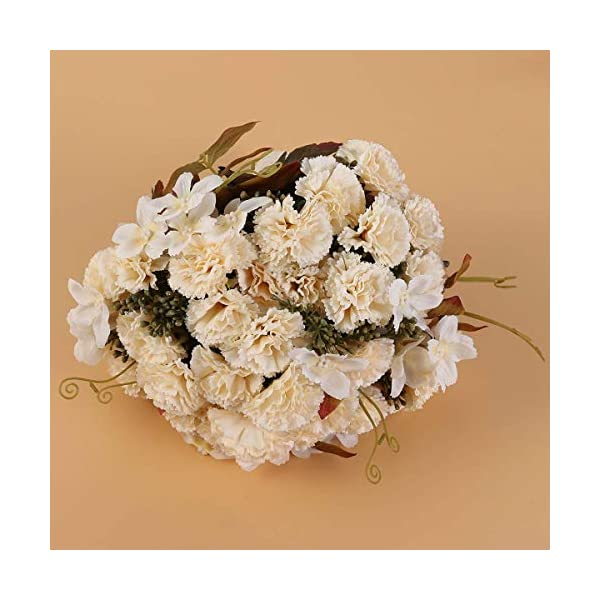 BESTOYARD Bride Holding Flowers Bridal Wedding Bouquet Ball Simulation Seascape Fake Photo Studio Photography Props (Autumn Carnation Champagne)