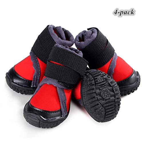 Hdwk&Hped Waterproof Dog Snow Boots Durable Dog Hiking Shoes for All Seasons with Rugged Anti-Slip Sole Cosy Fabric Red #90, 4-Pack