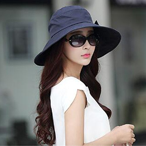 Brim Bowknot Multicolor Hat Mujeres Wide Cubo Blue Plegable Sun Upf50 Verano Playa Cap HwzqH