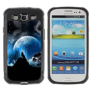 CAZZ Rugged Armor Slim Protection Case Cover Shell // Full Moon Wolf Wolves Howl Stars // Samsung Galaxy S3