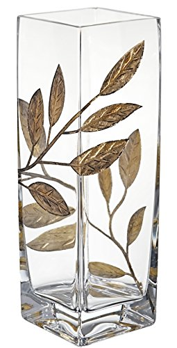 Premium Handmade Glass Vase - Decorated with Sandblasted and Painted Golden Leaves - Mouth Blown Lead Free Glass - Premium Clear Square Vase - Decorative Centerpiece - 9.7 inch (24.5 cm)