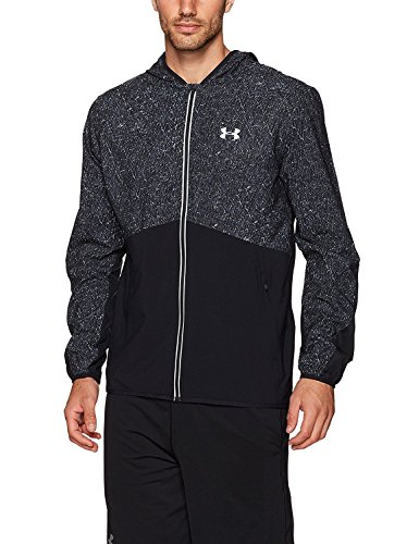Under Armour Men's Run True Printed Jacket,Black (001)/Reflective, Large by Under Armour (Image #1)