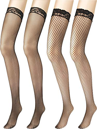 Zhanmai 4 Pairs Women's Fishnet Thigh High Stockings with Lace Top