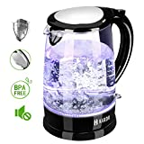 Glass Kettle(Updated Version)Habor Water Boiler 1500W Fast Heating Glass Tea Kettle, BPA Free, 1.8 QUART(1.7 Liter) Kettle with Blue LED Lights Bright Glass Body Auto Shut-Off Boil-Dry Protection Stainless Steel Inner Lip