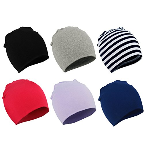 Zando Toddler Baby Beanies Hat for Baby Girls Cotton Knit Beanie Kids Lovely Soft Cute Cap Infant Beanies for Baby Boys 6 Pack Black Light Grey Stripe Red Light Purple Navy Large (1-4 years) by Zando