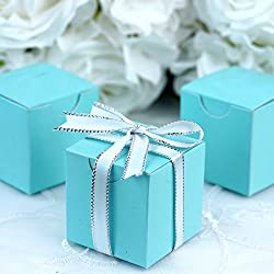 BalsaCircle 100 pcs 2-Inch Turquoise Wedding Favor Boxes for Wedding Party Birthday Candy Gifts Decorations Supplies Wholesale