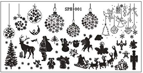 Unknown Christmas & Halloween Pattern Nail Art Stamping Plates Nail Image Print Stamp Stamping Manicure Template Nail Art Tools (Sph001)]()