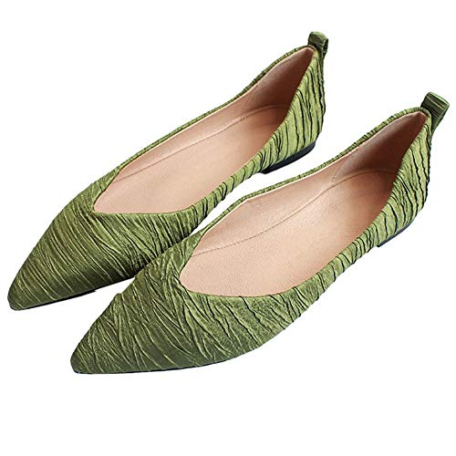 FLYRCX Zapatos Planos de Moda de Temperamento Acentuado Solo Zapatos de Boca Baja de Fondo Suave cómodo Mujeres Embarazadas Zapatos Zapatos de Trabajo de Oficina de Damas green