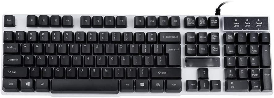HLOIPYUR Wired USB Keyboard LED Muticolor Backlight Game 104keys Gaming Optical Ergonomic Multimedia Keyboard for PC