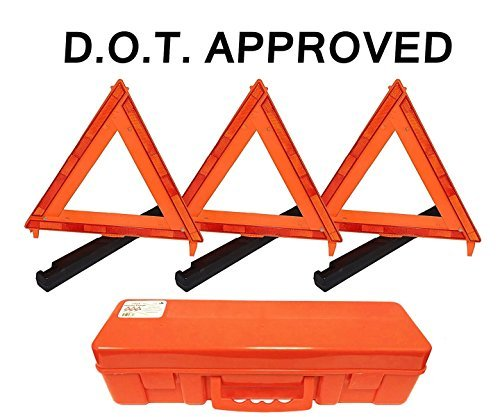 Professional EZ Travel Collection 3-Pack Big Rig Emergency Roadside Warning Triangle Reflector (D.O.T. Approved)