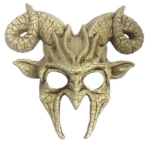 Antique Crackled Goat Half Mask Ram Adult Mens Animal Venetian Costume Accessory -