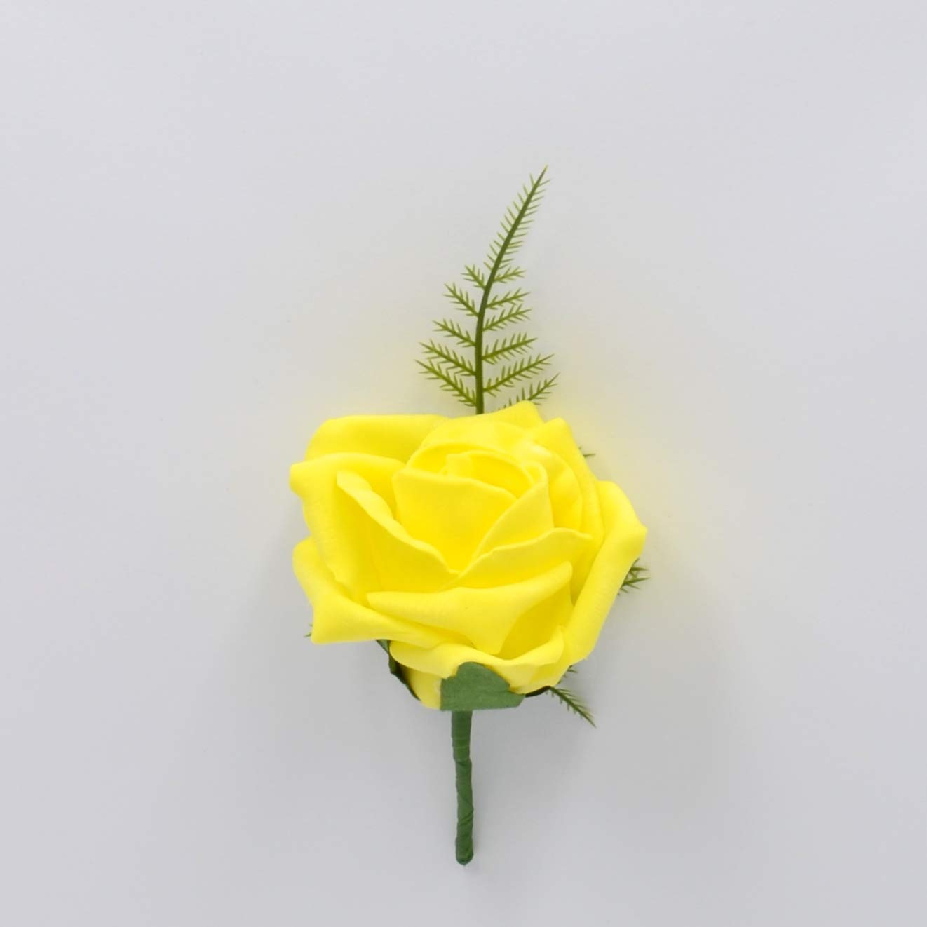 Artificial Wedding Flowers Hand-Made by Petals Polly, Foam Rose Buttonhole in Yellow PETALS POLLY FLOWERS