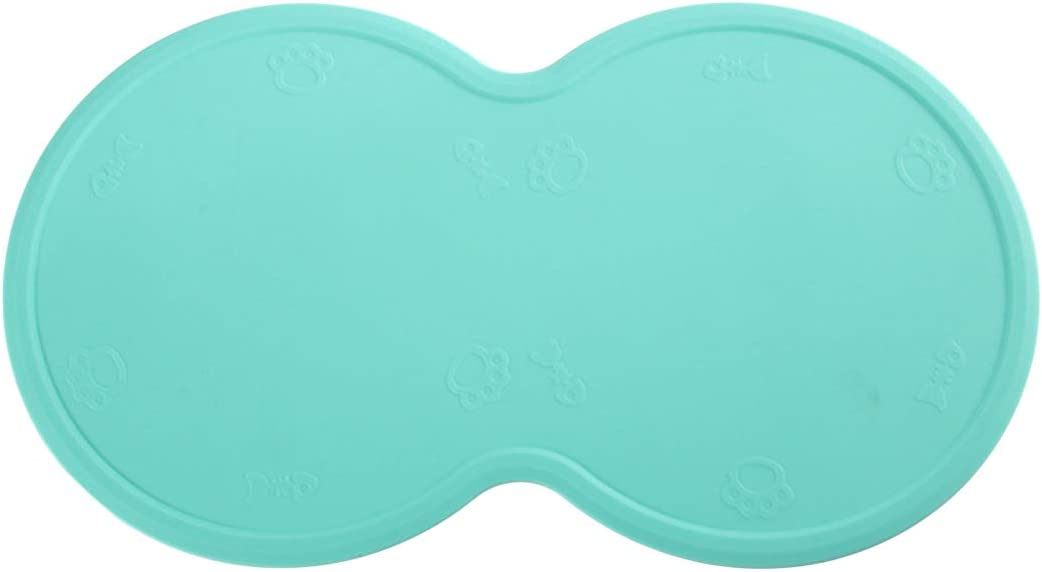 nosii Silicone Pet Feeding Placemat Anti-Skid Spill-Proof Dog Cat Food Mat for 2 Bowls