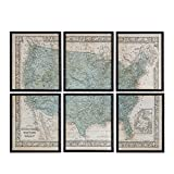 NIKKY HOME Vintage Wood Framed USA Map Decorative Wall Art Prints Set of 6