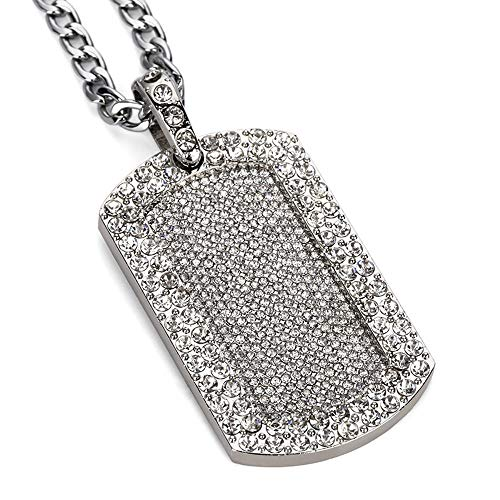 (AOVR Hip Hop CUBAN LINK Chain 14k Gold Silver Plated CZ CRYSTAL Bling Bling Fully Iced-Out Dog Tag Pendant (Silver))