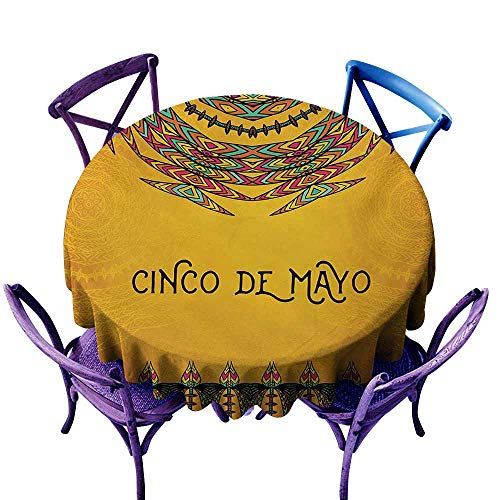 LOVEEO Stain Resistant Round Tablecloth,Mexican 5th May Celebration Historical National Aztec Victory Holiday Cinco de Mayo Art,for Events Party Restaurant Dining Table Cover,50 INCH Orange Green
