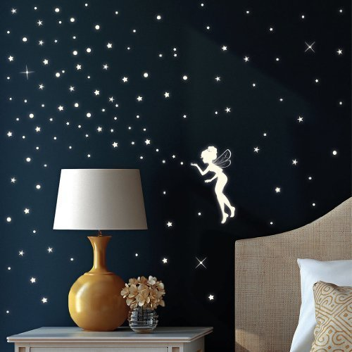 Perfect Fluorescent Fairy / Elf And 130 Glow In The Dark Stars   Wall Decal For A Part 30