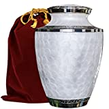 urns for adults - Everlasting Love Beautiful and Timeless White Adult Cremation Urn For Human Ashes - This Large Elegant Mother of Pearl Enamel and Nickel Urn Is a Perfect Tribute to Honor Your Loved One - w Velvet Bag