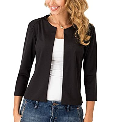 Hellomamma Womens 3/4 Sleeve Open Front Casual Short Blazer Jacket Suits