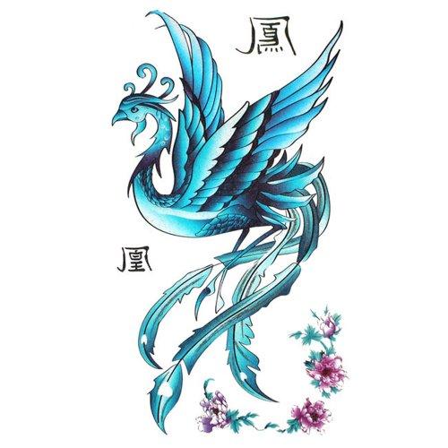 King Horse Tattoo sticker female waterproof blue phoenix pattern peony (Phoenix Tattoo)
