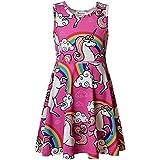 JxstarGGirls Sundresses Rainbow Dress Unicorn Party Supplies Girls Party Dress Unicorn 130 6-7Years/Height:48in