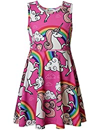 Jxstar Girl's Unicorn Dress, Unicorn Party Supplies, Fairy Dress, Animal Pattern Dress, Spring Summer Sleeveless Dress