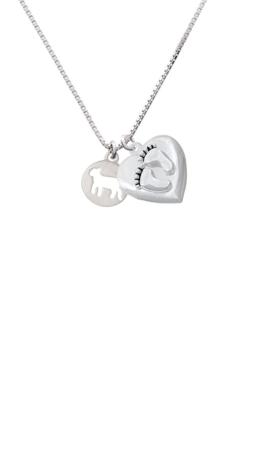 Lamb Silhouette Custom Engraved Baby Feet Heart Locket Necklace