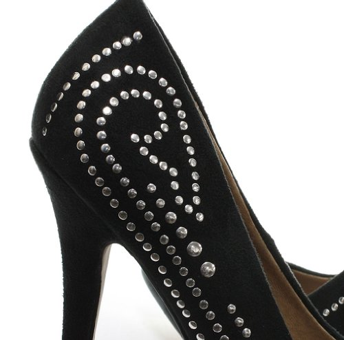Dolcis Khloe Stud Detail Womens High Heel Court Shoes Black mrxNI