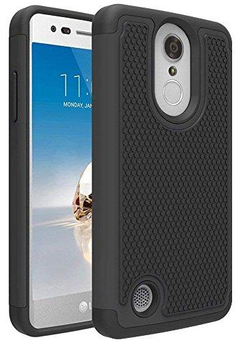 Shield Black Rubberized Case Protector (LG Aristo/LG Aristo 2/LG Phoenix 4/Rebel 4/LG Zone 4/LG Tribute Dynasty/LG Rebel 3 LTE/LG Risio 3/LG K8+ Plus/Phoenix 3/Fortune 2/K8 2018 Case, OEAGO [Shockproof] Hybrid Dual Layer Phone Case, Black)