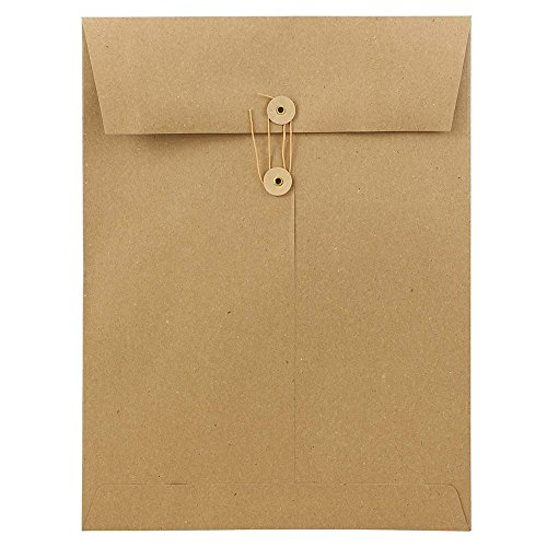 JAM PAPER 9 x 12 Open End Premium Envelopes with Button and String Closure - Brown Kraft Paper Bag - - Kraft Catalog Open End Brown
