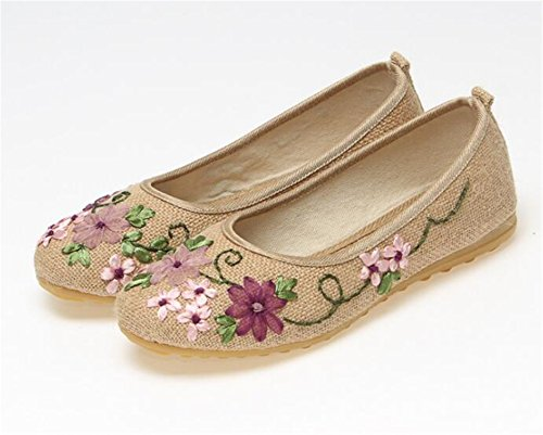 Flats 515 Flower Cotton Slip Old Flat Comfortable Ballerina Shoes Khaki Sapato Linen Kenavinca Feminino Vintage Fabric On 9 Embroidered Women Peking UtqPn4xnIw