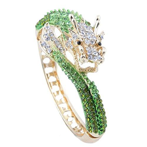 EVER FAITH Women's Austrian Crystal Cool Animal Fly Dragon Bangle Bracelet Green Gold-Tone Green Dragon Charm