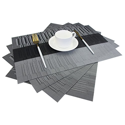 Bright Dream Placemats Easy to Clean Heat Ressietant for Dining Table Mats 12×18 inches Set of 4(Black+Gray)