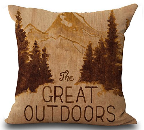 Outdoor Pine Bed - Andreannie Retro Vintage Background Wildlife Lodge Pine Forest The Great Outdoors Cotton Linen Throw Pillowcase Personalized Cushion Cover NEW Home Office Decorative Square 18 X 18 Inches