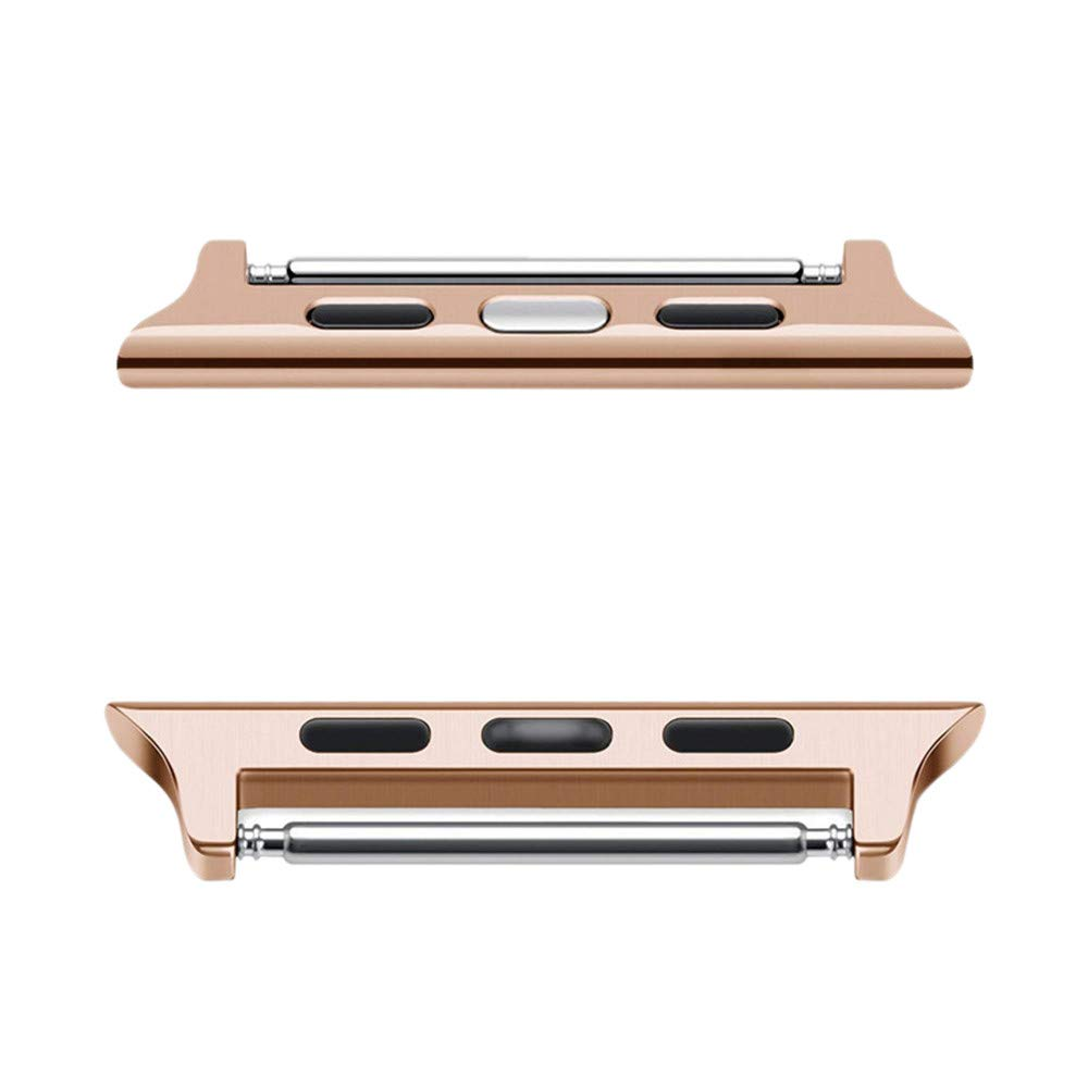 Ugood_ 1 X Pairs Watch Band Connection Adapter Band Wrist Adapter Bracelet Strap Connector for Apple Watch/iWatch Series 4 40mm/44mm (Rose Gold, 44mm)