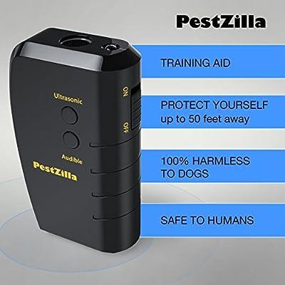 PestZilla Handheld Dog Repellent and Trainer with White LED Flashlight / Pocket size Ultrasonic Dog Deterrent and Bark Stopper + Dog Trainer Device [UPGRADED VERSION]