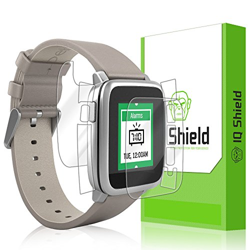 Pebble Time Steel Screen Protector, IQ Shield LiQuidSkin Full Body Skin + Full Coverage Screen Protector for Pebble Time Steel HD Clear Anti-Bubble Film - with (Protective Cover Crystal Psp)