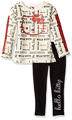 Hello Kitty Toddler Girls' 2 Piece Long Sleeve and Legging Set, Cream, 3T by Hello Kitty