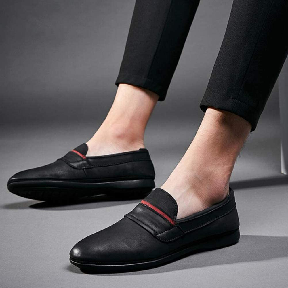 2018 New Mens Shoes Comfort Round Head Flat Business Casual Shoes Spring Fall Leather Loafers /& Slip-ONS