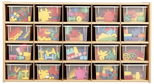 Young Time 7041YR441 20 Cubbie-Tray Storage with Clear - Storage 20 Cubby