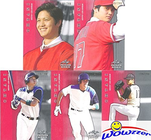 (SHOHEI OHTANI 2018 Leaf Premier Rookie EXCLUSIVE FIVE(5) Card RED SHORTPRINT ROOKIE Set Angels! All Cards Sequentially Numbered out of 200! Limited Edition Parallel MINT RC Set of Japans Babe Ruth)