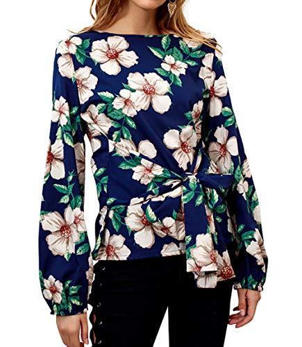 Imprime Casual Manches Blouse Bandage Automne Tops Monika T avec Fonc Tee Haut Femme Fashion Chemisiers Longues Printemps Bleu Shirt Shirts et O0AwqAzZ
