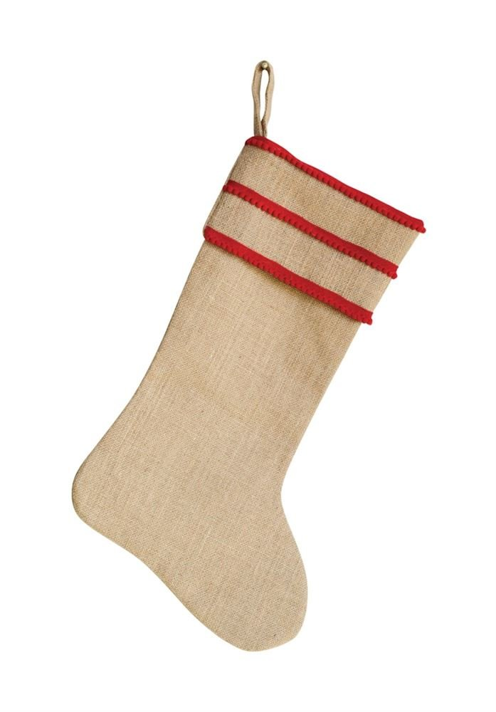Heart of America Jute Stocking With Red Trim - 3 Pieces