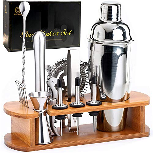 Bournis Cocktail Shaker Set with Stand, 16 Pcs 750mL Stainless Steel Cocktail Bartender Kit with Stand, Bar Shaker Strainer Jigger Muddler Kit
