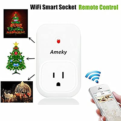 Ameky WiFi Timer Plug Remote Control Sockets Programmable Electrical Outlet Switch Smart Socket Controlled Via Android/iOS APP US Standard Smart Home Automation with 3 Modes, White